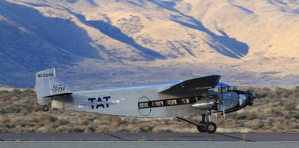 """Ford Trimotor AT-5-B at the Reno-Stead Airport. Photo Credit: Gary C. """"Olde Carl"""" Schenauer"""