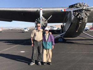Pilot John Hartke and Harrah restorer Al Wasilewski.