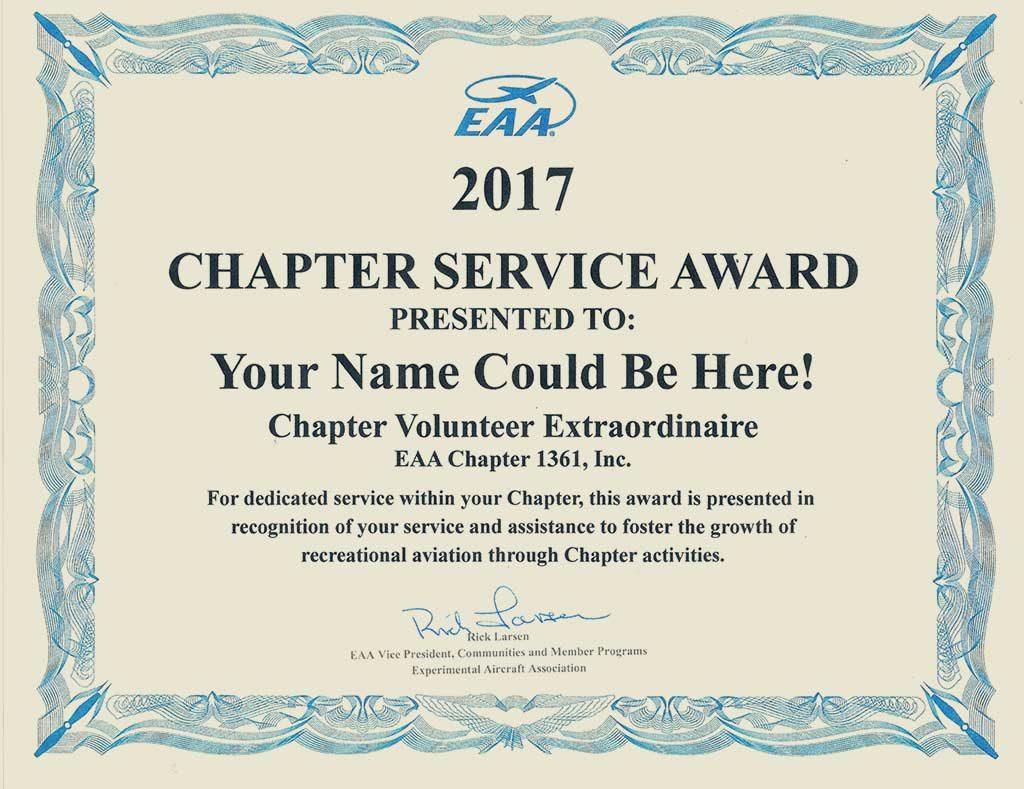 EAA Chapter 1361 Service Award