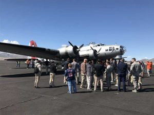 A crowd gathering for ground tours.