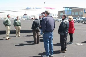 Ken and Tom briefing the next flight's passengers on B-17 history.