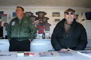 Steve and Bill in the merchandise trailer.