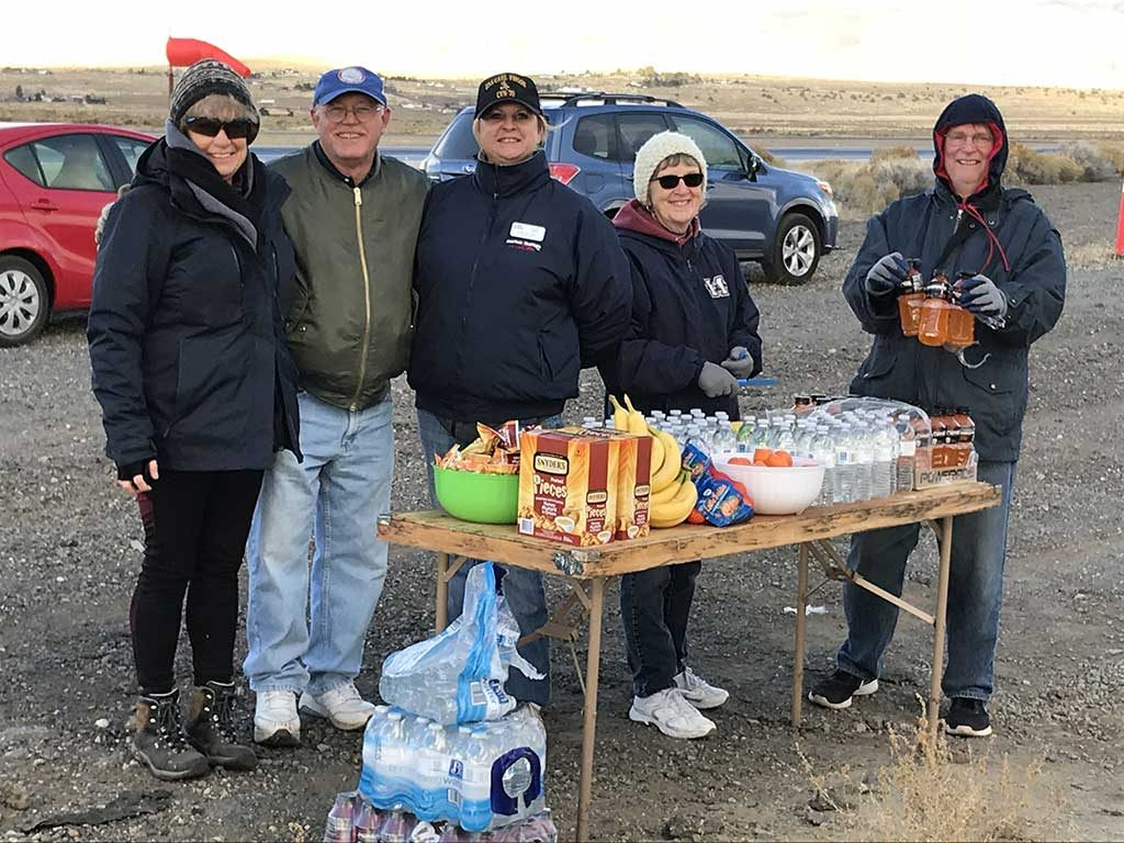 EAA Chapter 1361 volunteers working at one of the participant water stops during the Reno-Stead Airport Ruck March.