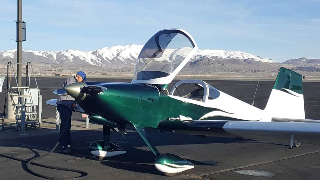 Doug Kajans refueling his RV-6 at the Stead fuel island.