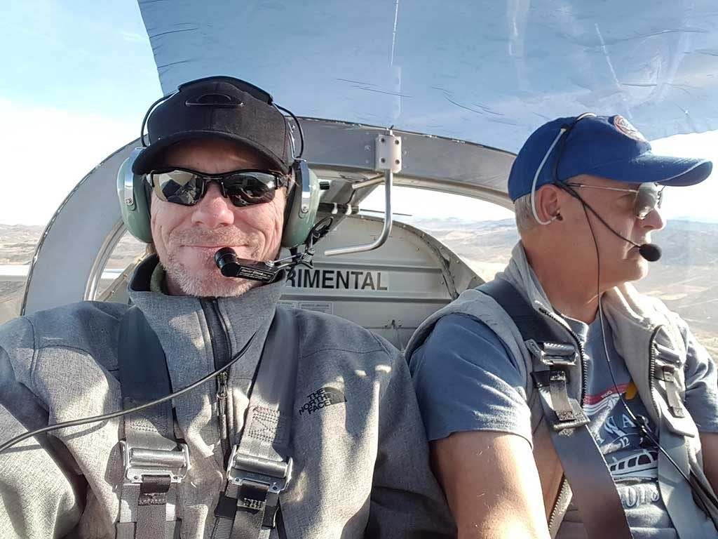 Doug Kajans and Joe Wilbur enroute to Minden in Doug's RV-6.