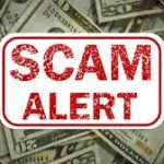 scam alert image with money background